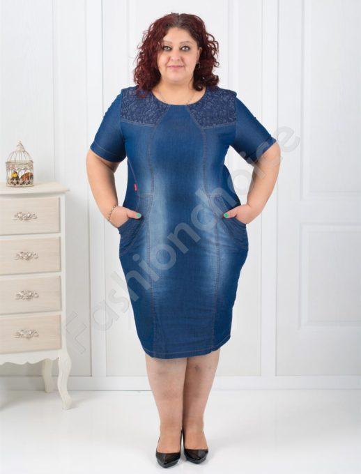 Модерна дънкова рокля с дантела на рамената-код 022-166
