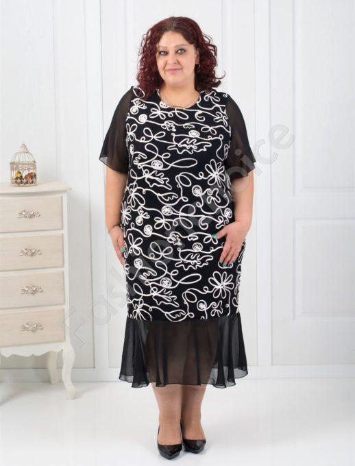 Изискана дамска рокля в макси размери/3XL,4XL/-код 254-1090-1