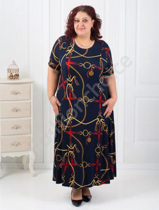 Дълга макси рокля с нежни цветни мотиви/60,62,64/-код 070-3
