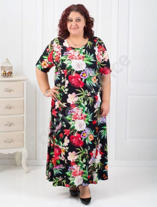 Слънчева дълга макси рокля с нежни цветя/60,62,64/-код 070-4