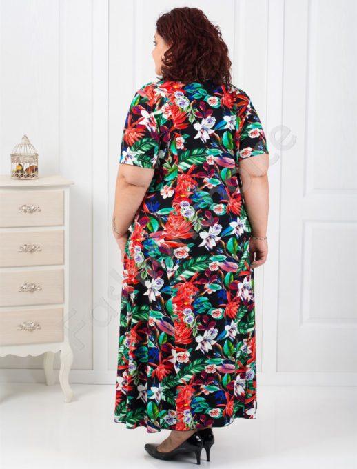 Свежа дълга макси рокля в десен на нежни цветя/60,62,64/-код 070-5