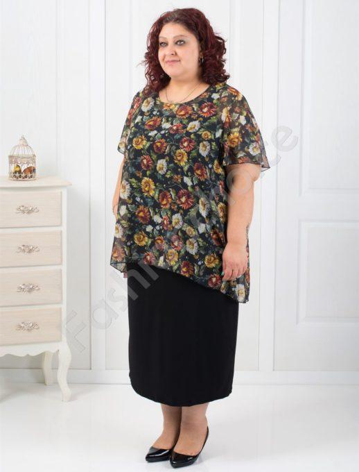 Елегантна макси рокля в комбинация с цветен шифон-код 0585-2