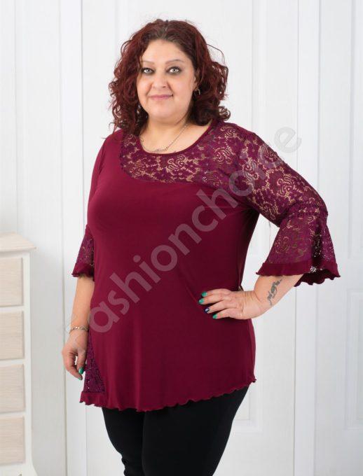 Дамска макси блуза с елегантна дантела-код 179