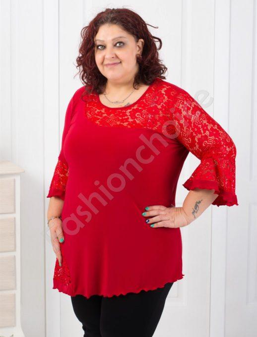 Дамска макси блуза с елегантна дантела-код 008-179-2