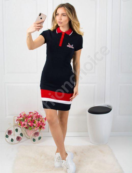 Спортна рокля с къс ръкав и якичка - тъмно синя Код 800-2