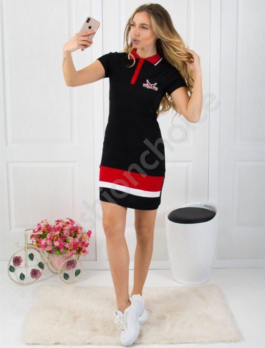 Спортна рокля с къс ръкав и якичка - черен цвят Код 800-1
