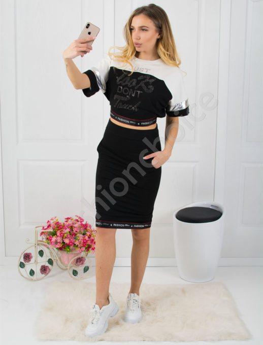 Дамски комплект пола и блуза в черно Код 795
