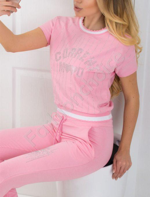 Дамски екип с камъни - розов цвят Код 796-2