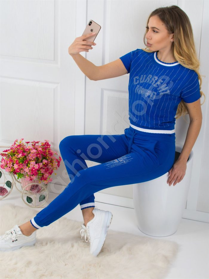 Дамски екип с камъни - син цвят Код 796
