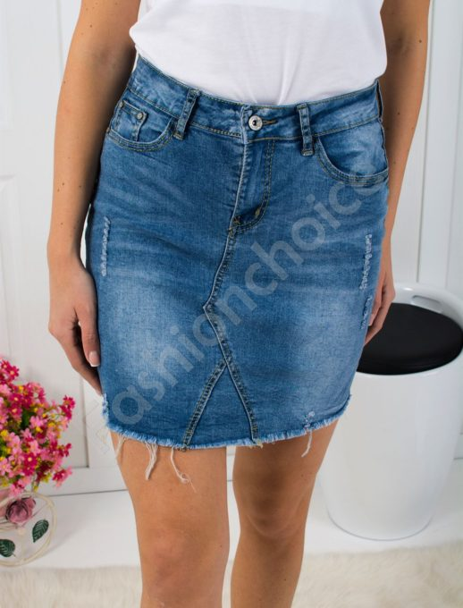 Дънкова пола с винтидж ефект - код 304