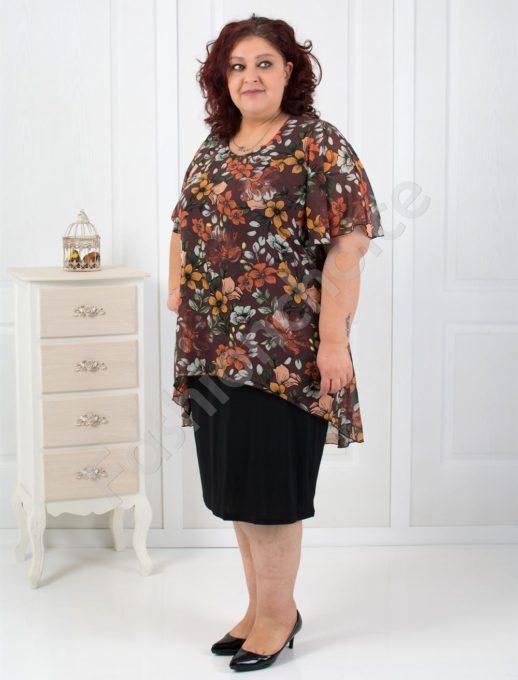 Красив модел макси рокля в нежен цветен десен-код 249-1092