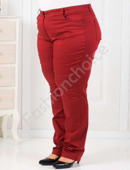 Дамски макси панталон в цвят бордо-код 753-163