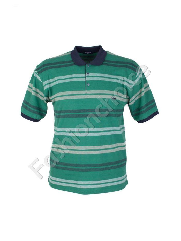Мъжка макси блуза с якичка на едри райета- код 733-8327-1