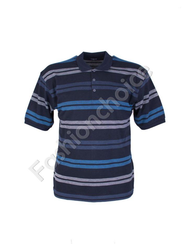 Мъжка макси блуза с якичка на едри райета- код 733-8327-2
