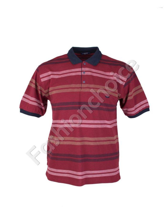 Мъжка макси блуза с якичка на едри райета- код 733-8327