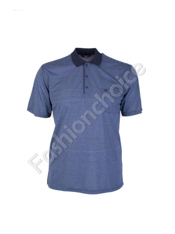 Мъжка макси блуза с якичка и райe- код 736-9055