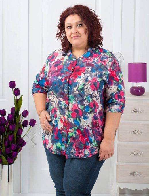 Дамска риза на цветя макси размери/52-60/-код 704-9