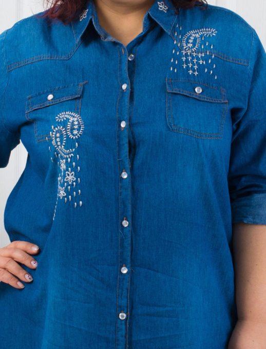 Макси дънкова туника-риза с красива бродерия-код 705-3