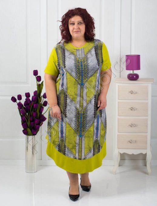 Шикозна цветна макси рокля в три приятни цвята/4XL,5XL,6XL/