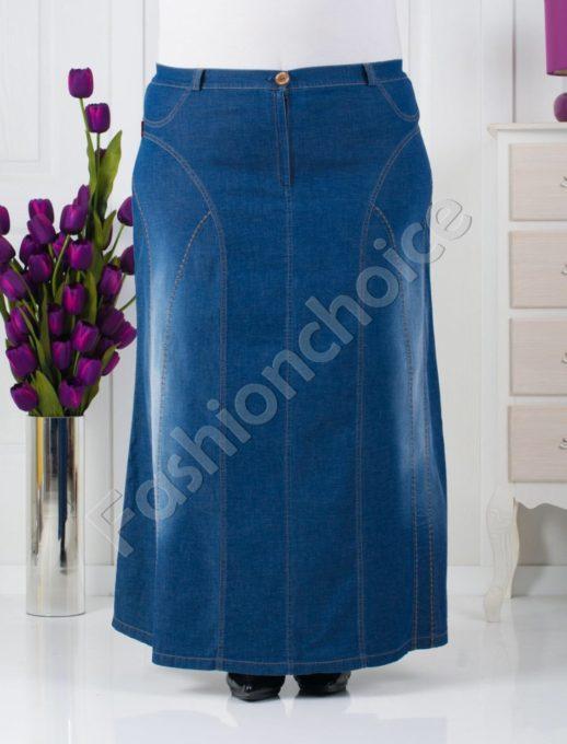 Елегантна дълга дънкова пола/размери 60,62,64/-код 020-171