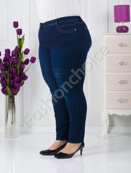 Дамски макси дънки с лъскави камъчета-код 753-566-1