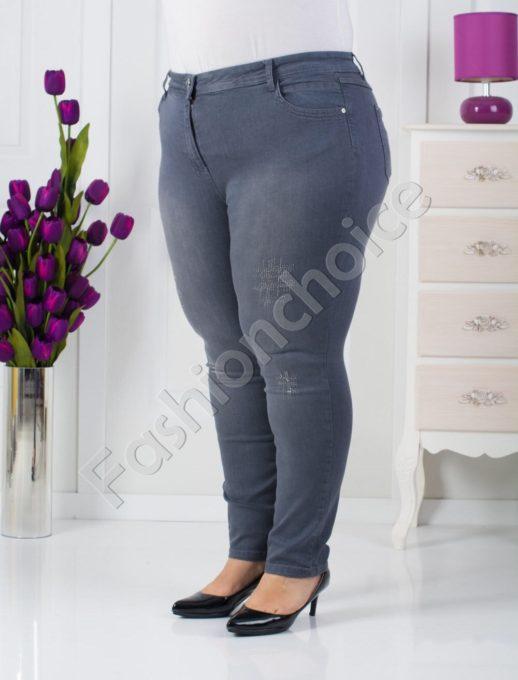Дамски макси дънки с лъскави камъчета-код 753-566