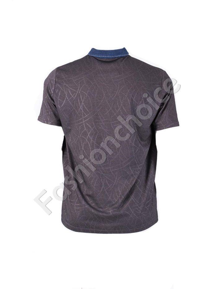 Мъжка блуза с дънкова якичка/3XL-10XL/-код 768-19421-1