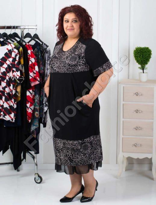 Макси рокля с нежен тюл на цветя- код 249-1082-1