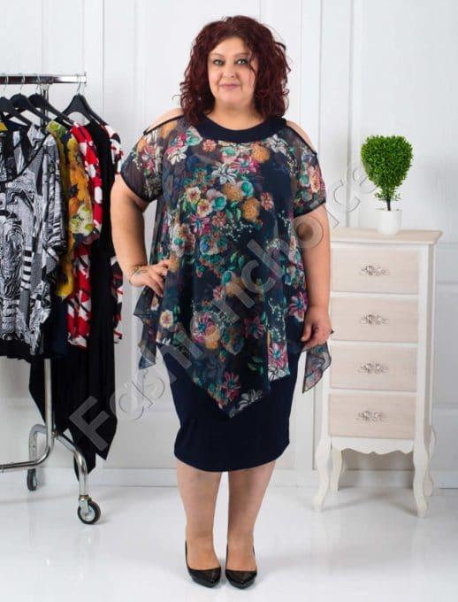 Елегантна макси рокля с ефирен шифон-код 508-7058