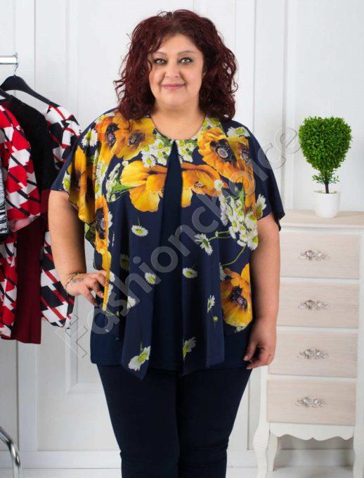 Стилна макси блуза с шифон на цветя-код 255-1091