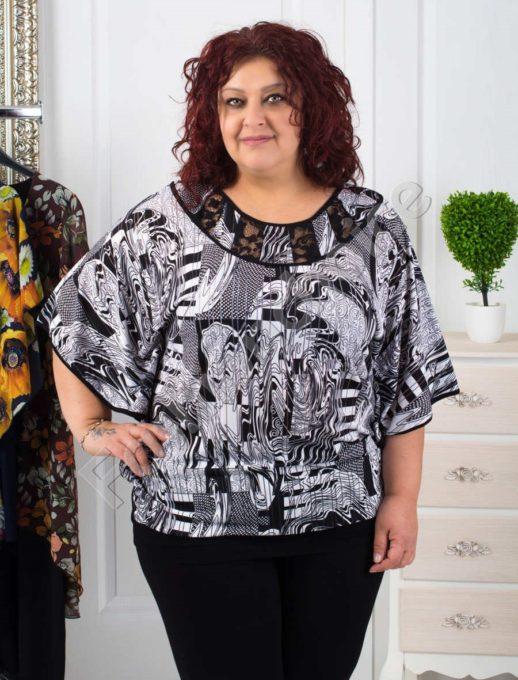 Екстравагантна макси блуза в черно-бял десен-код 251-1075