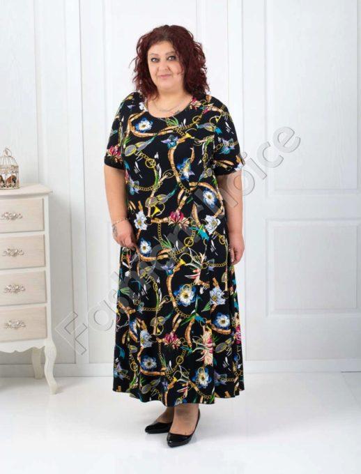 Дълга макси рокля с нежни цветни мотиви/60,62,64/-код 070-1