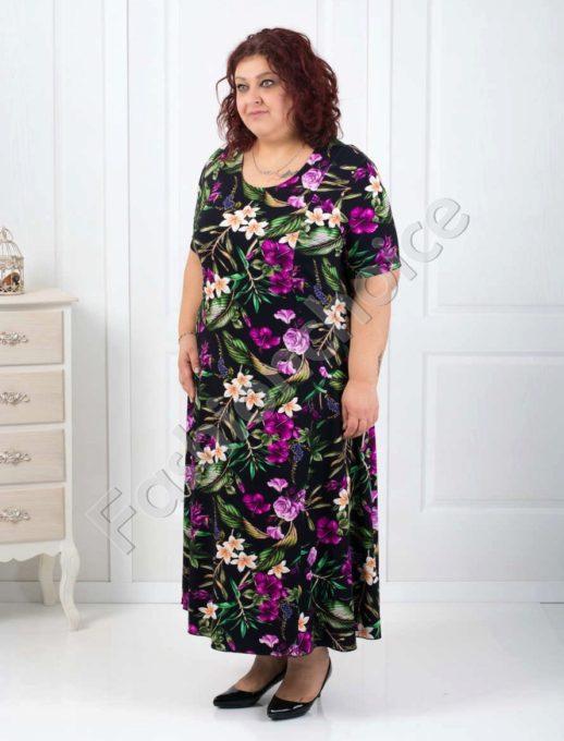 Цветна дълга дамска макси рокля/60,62,64/-код 070