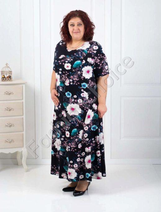 Нежна дамска макси рокля с цветен принт-код 070-2