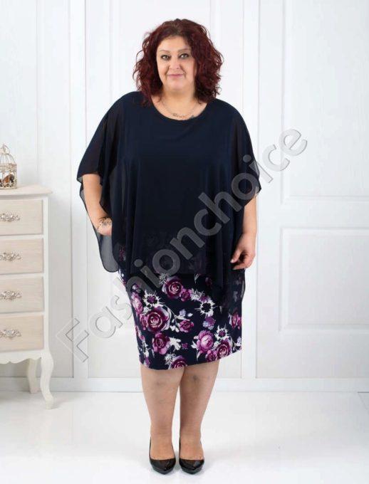 Дамска макси рокля в комбинация с шифон и цветен десен-код 540-1
