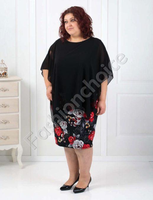 Дамска макси рокля в комбинация с шифон и цветен десен-код 540