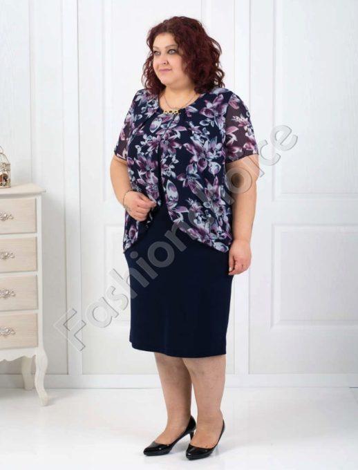 Елегнтна макси рокля с красив цветен шифон в синьо-код 001-111