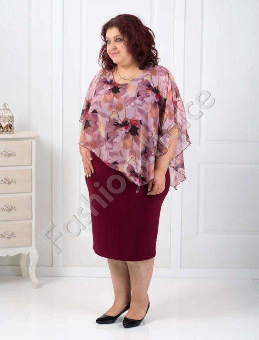Красива макси рокля с асиметричен шифон в бордо- код 002-121