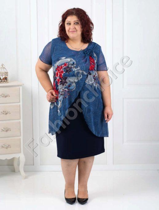 Стилна макси рокля с цветен шифон в тъмно синьо-код 003-134