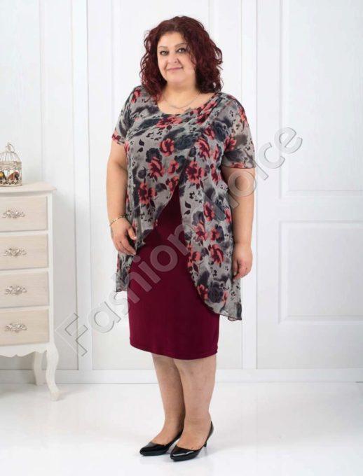 Стилна макси рокля с нежен шифон в бордо-код 003-134-1