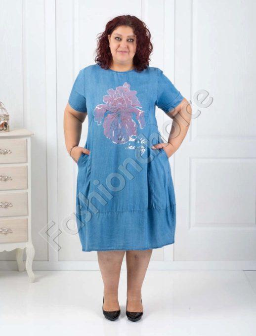 Дънкова макси рокля с цветна щампа-код 527