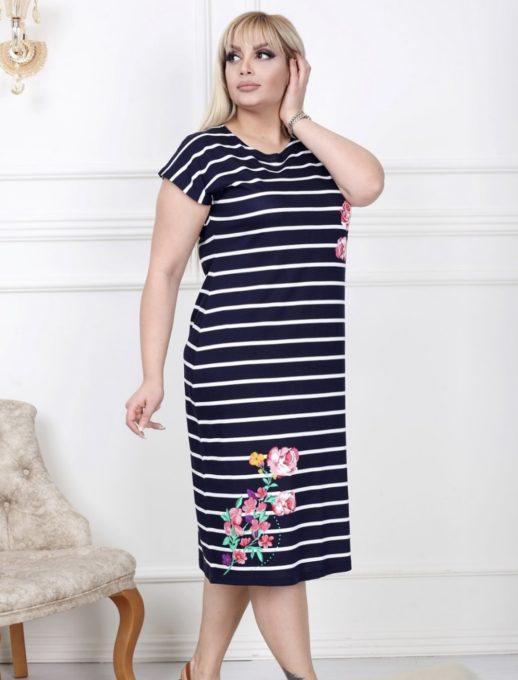 Красива макси рокля на райе с цветни мотиви-код 741-3