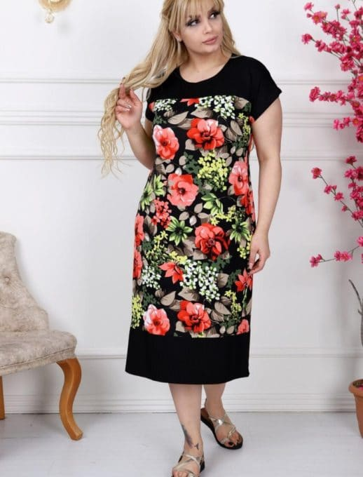 Дамска рокля с красиви цветни мотиви/2XL,3XL,4XL/-код 741-9