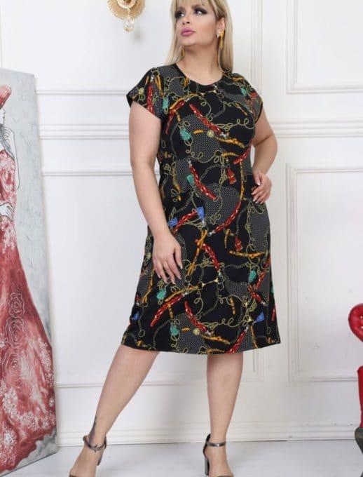 Дамска рокля в интересен десен/2XL,3XL,4XL/-код 741-6