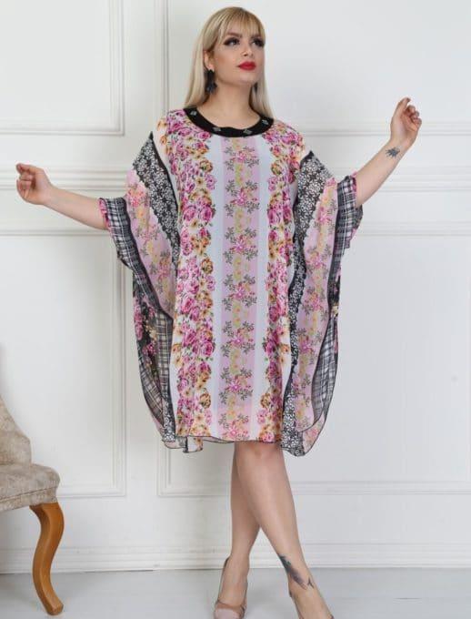 Дамска макси рокля тип пончо с флорални мотиви-код 740-14