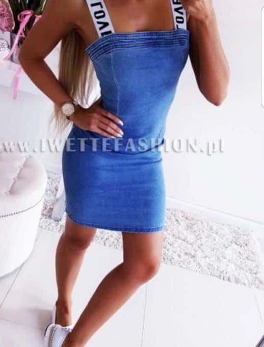 Сладка дънкова рокличка с модерни презрамки-код 772