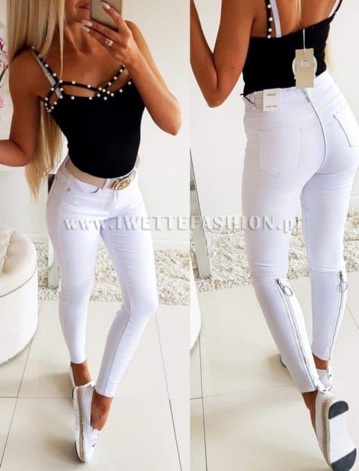 Дамски панталон в бяло с модерен цип- код 771