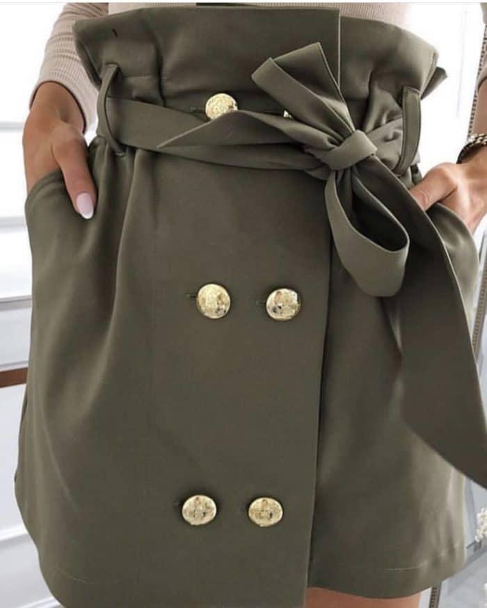 Пола с висока талия в цвят каки - код 791-2