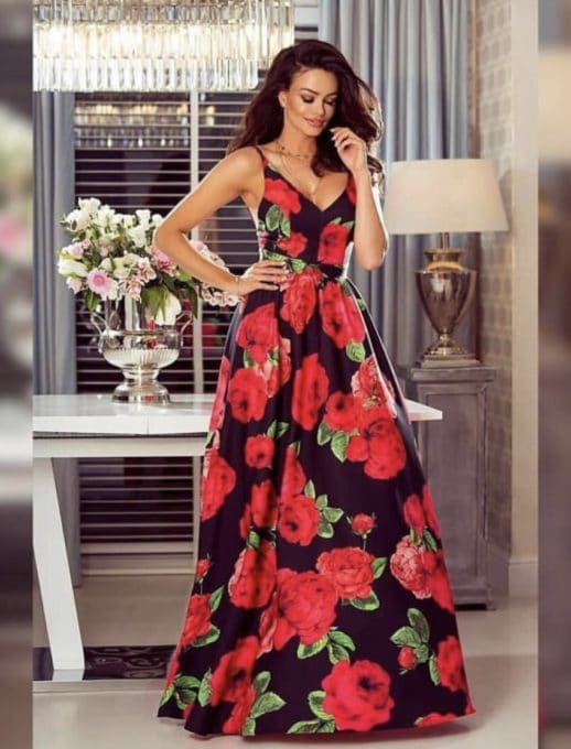 Ефирна дълга рокля в черно на цветя Код 786
