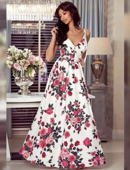 Ефирна дълга рокля в бяло на цветя Код 786-1